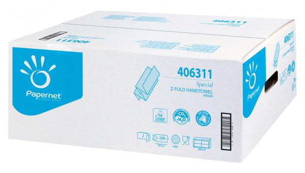 Handtuchpapier weiß, Z-Falz, 2-lagig, 20 x 24 cm, 4.000 Blatt - 406311