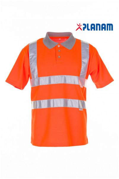 Planam Warnschutz Poloshirt 2-farbig 2098 Arbeitsshirt Arbeitspolo Orange-Grau