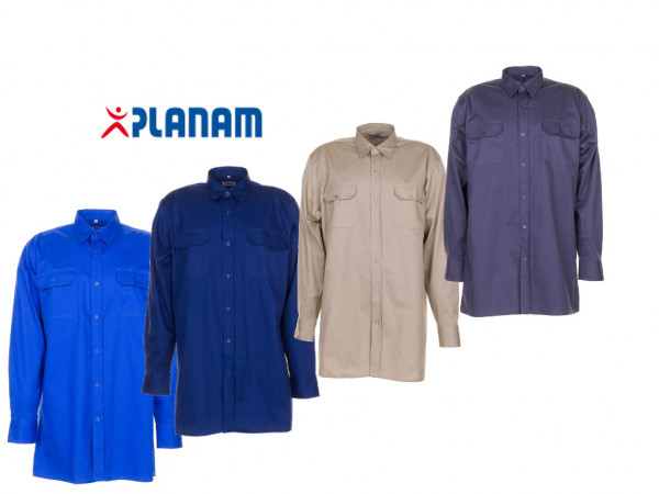 Planam Köperhemd 1/1 langarm Arbeitshemd Größe 37/38 - 49/50, in 4 Farben