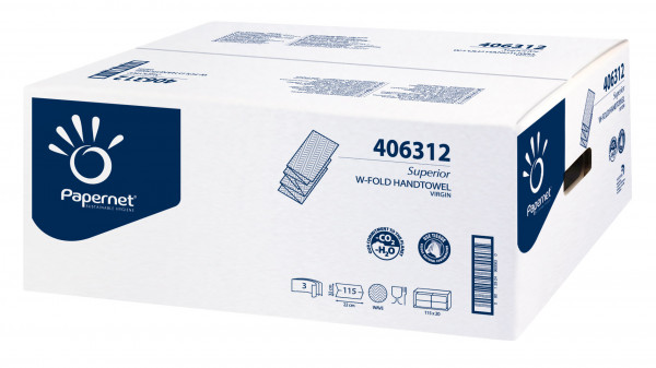 Handtuchpapier weiß, W-Falz, 3-lagig, 22 x 32 cm, 2.300 Blatt - 406312