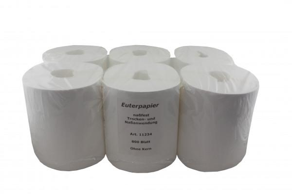 Euterpapier - nassreißfest weiß ohne Mittelkern 6 Rollen a´ 800 Blatt 23 x 22 cm