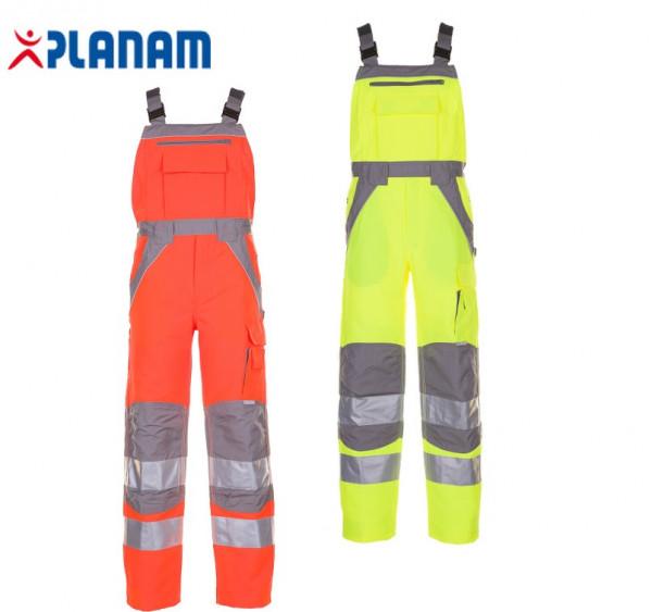 Planam Plaline Warnschutz Latzhose Arbeitslatzhose Arbeitshose Größe 24 - 110, in 2 Farben