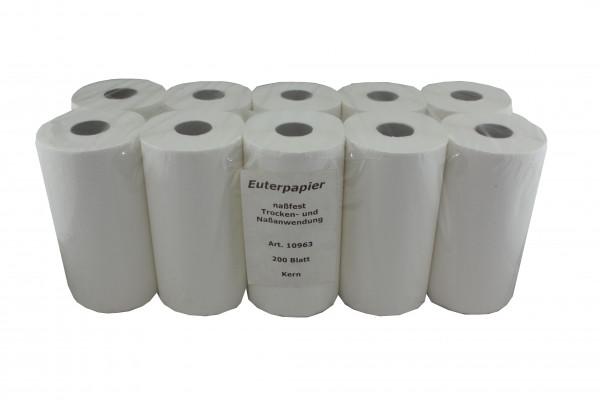 Euterpapier- nassreißfest weiß mit Mittelkern 10 Rollen a´ 200 Blatt 15 x 22 cm