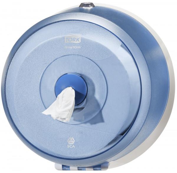 Tork (T9) Wave SmartOne® Mini Toilettenpapierspender WC-Papier-Spender blau/transparent - 472025