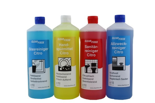 Clearfixxx Reinigungsmittelset Glas-, Sanitär-,Allzweckreiniger & Handspülmittel