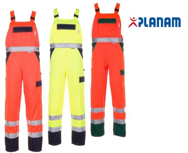 Planam Warnschutz Latzhose Arbeitshose 2-farbig Größe 24 - 110, in 3 Farben