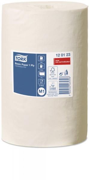 Tork (M1) Standard Papierwischtücher Handtuchrolle 1-lagig, weiß, 6 Rollen - 120123