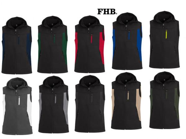 FHB Justus Softshellweste High-Performance Softshell Weste Arbeitsweste 79110 Größe XS - 5XL, in 10 Farben