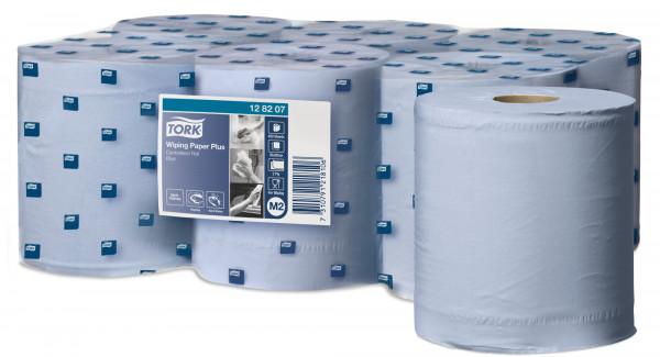 Tork (M2) starke Mehrzweck-Papierwischtücher Handtuchrolle 2-lagig, blau, 6 Rollen - 128207