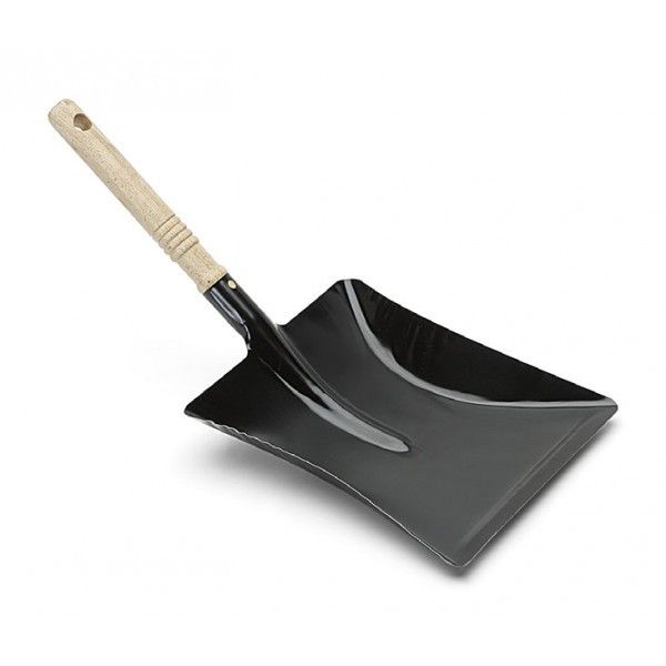 Nölle - Kehrschaufel Metall schwarz lackiert mit Holzgriff 44 x 22 cm - 455500