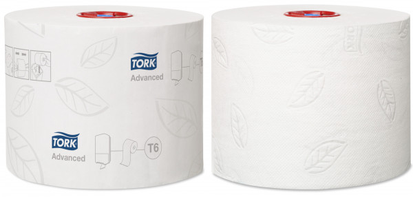 Tork (T6) Toilettenpapier WC-Papier Midi Rolle 2-lagig, weiß, 27 Rollen - 127530