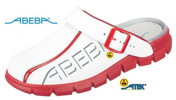 ABEBA Dynamic 7313 | 37313 ESD Berufsschuh Clog weiß/rot
